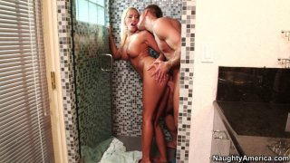 Filthy blonde woman Brooke Fox gets doggyfucked at the shower image