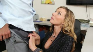 Image: Horny Nikki Sexx is eager to suck her boss' dick in the office