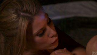 Sexy blonde Aleksa Nicole rides her boyfriend on the camping trip image