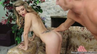Image: Blonde vixen Staci Silverstone seduces blonde guy and blows his dick