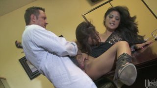 Image: Two horny brunettes Kaylani Lei & Chanel Preston please the doctor's cock