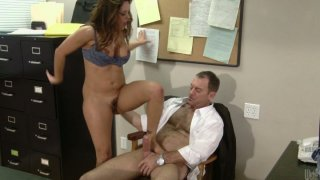 Image: Slutty and horny office employee Francesca Le rides the cock of her boss