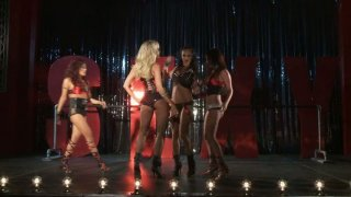 Dirty bitches Jessica Drake, Kaylani Lei, Alektra Blue and Brandy Aniston perform on a stage and later fuck each other image