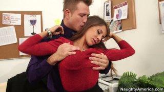 Hot seductress Madison Ivy flirts with horny guy image