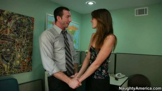 Image: College slut Kara Price gives a head at staff room