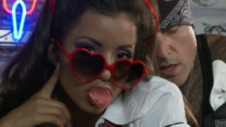 Image: Hot biker's girlfriend Lupe Fuentes sucks a tasty lollicock of the tattooist