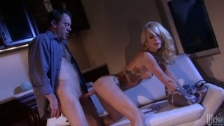 Image: Tattooed girlie Monique Alexander sucks a dick after the romantic dinner