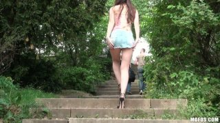 Frisky brown haired teen Stacy Snake loves to play with_her pussy alone image