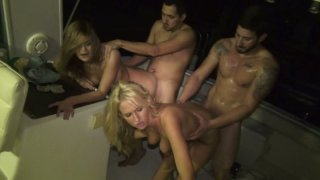 Filthy whores Kira Koi and_Trixie Star participate in orgy image