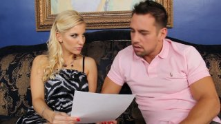 Naughty blonde girl Ashley Fires gives a head and gets a hot rimjob image