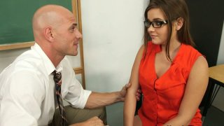 Hungry for cock Ashlynn Leigh gives a_head to her teacher image