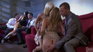 Party sluts Shyla Stylez, Jenny Hendrix and Kortney Kane blowjob_orgy image