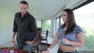 Image: Horny young girl Melina Mason seduces her boss and gives him a head