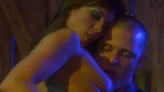 Slutty brunette Kirsten Price rides a cock in_the shed at night image