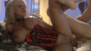 Hot buxom blondie in corset Stormy Daniels gets her quim drilled thoroughly image