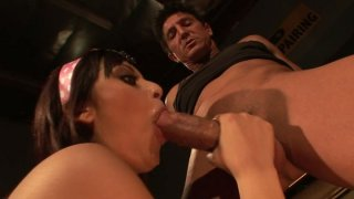 Brunette skanks Audrianna Angel and Danni Cole give_double blowjob image