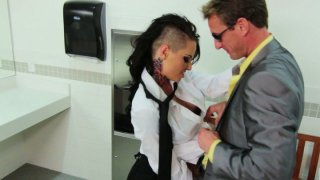 Image: A dude picks up Christy Mack who works as a waitress and fucks her in a WC