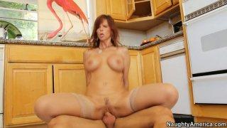 Syren De Mer_rides her boyfriend on the kitchen floor image