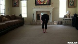 Flexible babe Casi James stretches on a cam and later gives a head in a POV video image
