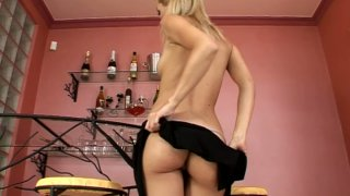 Seductive blonde kitty Sophie Moone hot striptease show image