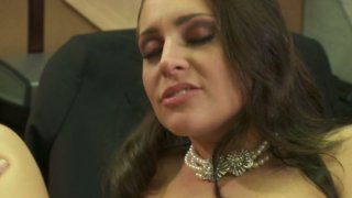 Brown haired office slut Gracie Glam gets her bushy cunt_fucked by boss image