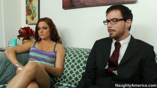 Whorable brunette Kacee Daniels sucks a cock_of the notary image
