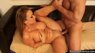 Buxom blond head Maya Hills rides a cock fast and toughly image