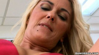 Ugly granny Jazella Moore teases the guy rubbing her pussy and later gives him a blowjob image