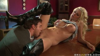 Image: Voracious Jazy Berlin sucks Rocco Reed's dick deepthroat and gets nailed hard in a missionary position