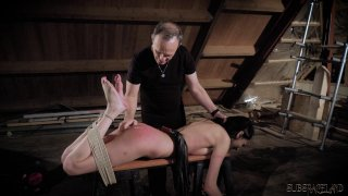 mff suspension - Submissive brunette in suspension bondage gets whi image