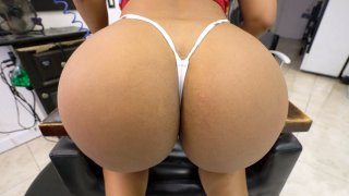 Rose Monroe in sexy G-string shows off her big ass image