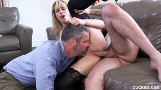 Wife in stocking fucks hard in front of her husband image