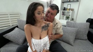 Old fart rims anus and fucks pussy of charming brunette Darcia Lee image