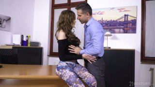 Sexually charged babe Gisha Forza seduces her boss and gets her anus nailed image
