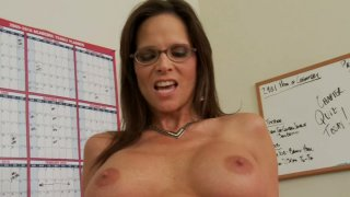 Sexy and firm MILF teacher Syren De Mer_bouncing on a student's cock image