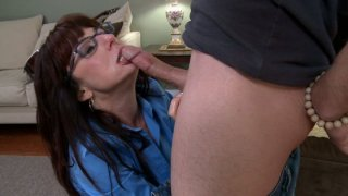 Nasty aunty Karen Kougar giving blowjob and getting lube job image