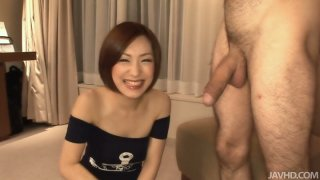 Asian cutie Nene sucks the dick on a cam for the first time image