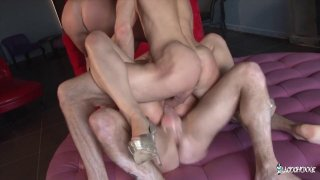 Image: French slut has her holes filled in double penetration fuckfest