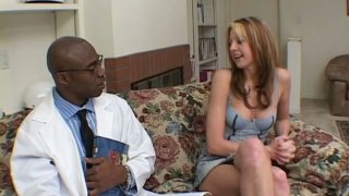 Image: Touchy blonde cutie named Lisa Marie gives blowjob to her black fucker