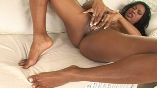 Hot and busty ebony beauty Tyra Lex drills_herself_with dildo image