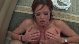 Dirty American housewife Rhylee Richards rides dick and wants to be titfucked image