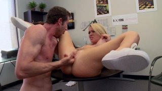 Tall man eats pussy of Krissy Lynn and bangs her missionary style on the desk image