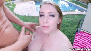 Image: Cute blonde Desiree De Luca fucks doggy style on the grass