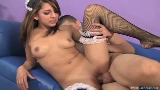 Whorish maid Lexi Bloom fucks Bruce Venture's dick sticking out of the hole in a table image