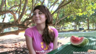 Slutty teen Lisa Lexington agrees to make a porn video image