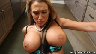 Nikki Sexx gets cum shake in the kitchen image