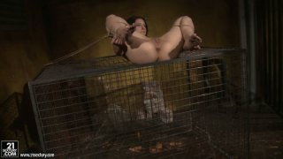 Brunette BDSM slave Melyssa gets her pussy fucked with a dildo image