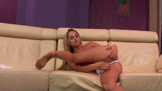 Elastic blonde beauty Ferrara Gomez reaches orgasm from masturbation image