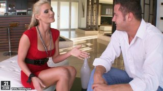 Slutty blonde whore Phoenix Marie gives blowjob and titjob image