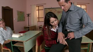 Brunette student chick_Nena gets owned by her teacher and coed image